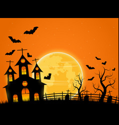 Halloween night background with castle vector