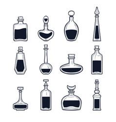 hand drawn potion bottles set vector image