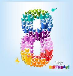 Happy birthday card eight years vector