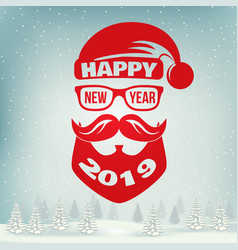 happy new year stamp sticker set with santa claus vector image
