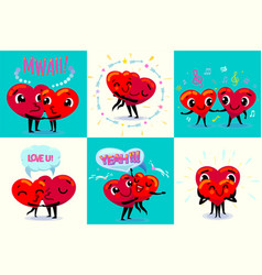 happy valentines day card set couple in love vector image