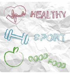 Healthy sport food on a creased paper vector