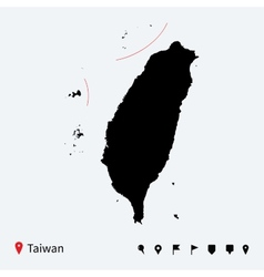 High detailed map of Taiwan with navigation pins vector