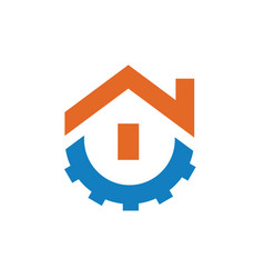 home symbol combined with gear vector image