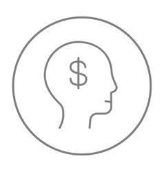 Human head with dollar symbol line icon vector