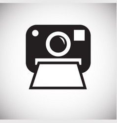 Instant camera icon on white background for vector