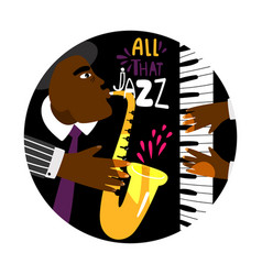 jazz piano round banner vector image