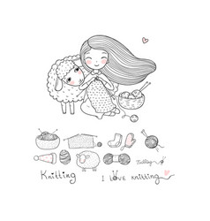 knitting girl and a cute cartoon sheep handmade vector image