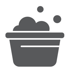 Laundry bucket glyph icon clean and wash basin vector