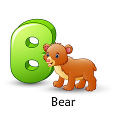 Letter b is for bear cartoon alphabet vector
