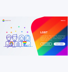 Lgbt concept gay and lesbian couples with rainbow vector