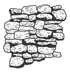 Masonry stone wall sketch engraving vector