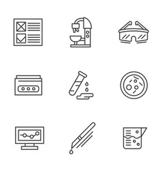 Medical research black line icons set vector