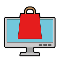 monitor computer with shopping bag vector image
