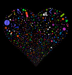 Narcotic drugs fireworks heart vector