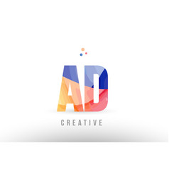 Orange blue alphabet letter ad a d logo icon vector