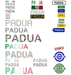 Padua text design set vector