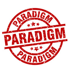Paradigm round red grunge stamp vector