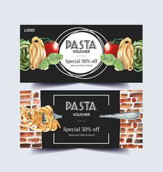 Pasta voucher design with tomato fork basil vector