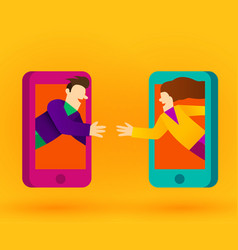 people connecting with smart phones or internet vector image