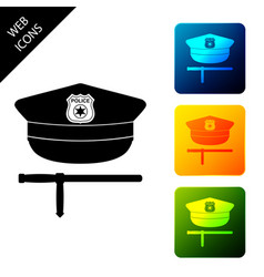 police cap and rubber baton icon isolated on white vector image
