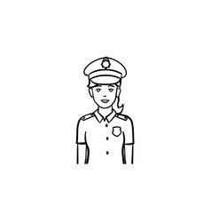 Police woman hand drawn outline doodle icon vector
