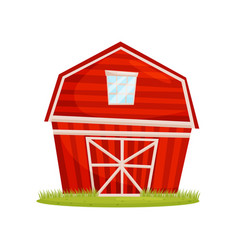 red wooden barn and green lawn large farm vector image