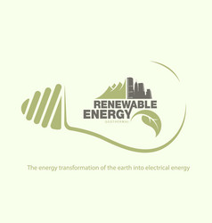 Renewable energy of earth in bulb concept vector