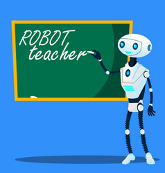 robot teacher writes on blackboard vector image