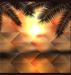 sea sunset with palmtree geometric background vector image