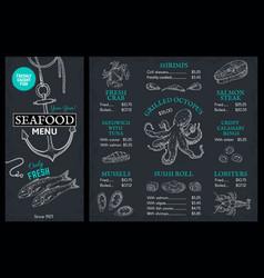 seafood sketch menu doodle fish restaurant vector image