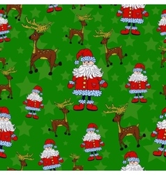 Seamless Christmas pattern with Santa reindeer vector image