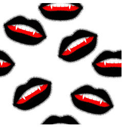Seamless pattern fluffy black lips with open mouth vector