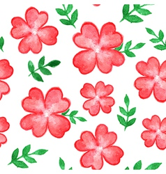 seamless pattern with red watercolor flowers vector image