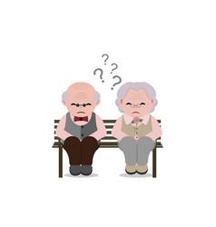 Senior couple with sad facial expressionold vector