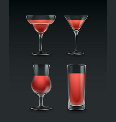 set of cocktail glass vector image
