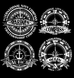 set of vintage compasses vector image