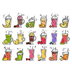 smoothie hand drawn pictures of summer cocktails vector image