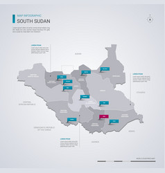 south sudan map with infographic elements pointer vector image