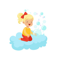 Sweet little girl sitting on cloud playing with vector