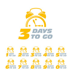 three days to go sticker with alarm clock limited vector image