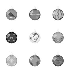 Toys for a christmas tree monochrome icons in set vector