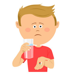 Unhappy little boy with glass of water shows pils vector