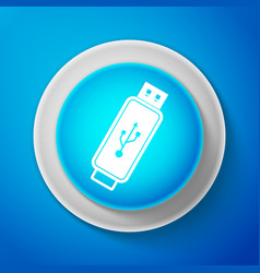 usb flash drive icon isolated on blue background vector image