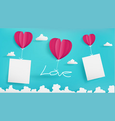 Valentines day paper art with empty note vector