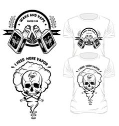 Vape t-shirt designs set vector