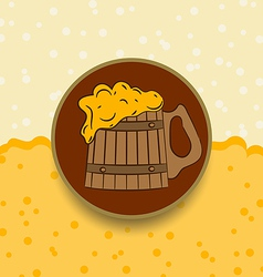Vintage card wooden mug beer vector image
