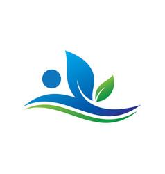 wave leaf eco sign logo vector image