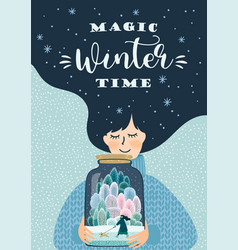 Winter with cute woman design vector