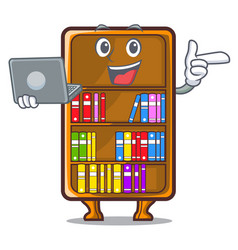 With laptop mascot bookcase beside the study desk vector